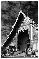 Wat Phra Singh, typical of northern Thai architecture. Chiang Mai, Thailand ( black and white)