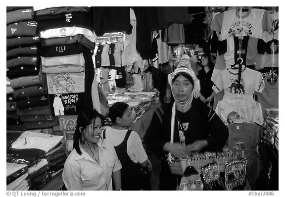 Akkha tribeswoman in the Night Bazaar. Chiang Mai, Thailand (black and white)