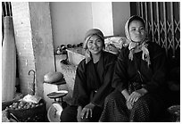 Tribeswomen. Chiang Rai, Thailand (black and white)