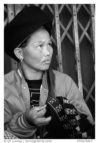 Tribeswoman. Chiang Rai, Thailand (black and white)