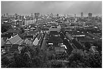 Temple complex and city skyline. Bangkok, Thailand ( black and white)