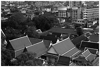 Temple roofs and modern buildings from above. Bangkok, Thailand ( black and white)