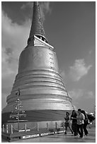 Chedi on top of Golden Mount. Bangkok, Thailand ( black and white)