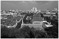 View of temples and city. Bangkok, Thailand ( black and white)