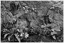 Flowers and cascade, Golden Mount. Bangkok, Thailand ( black and white)