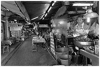 Food stall in alley. Bangkok, Thailand ( black and white)