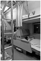 Passenger in sleeping train. Thailand ( black and white)