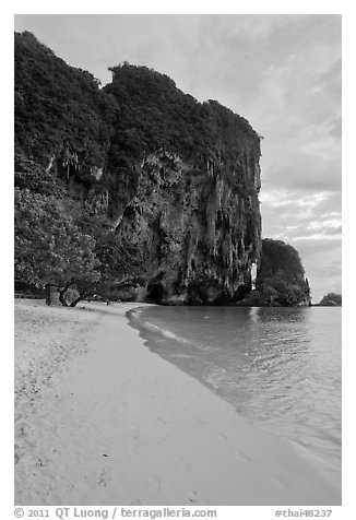 Pranang Cave Beach and limestone crag, Railay. Krabi Province, Thailand (black and white)
