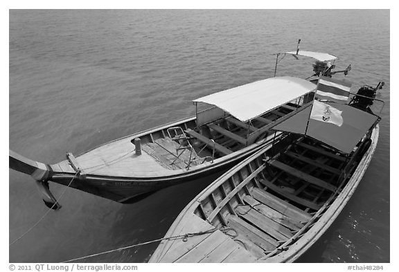 Two boats, Ao Nammao. Krabi Province, Thailand (black and white)