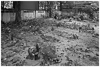Muslim burying grounds, Ko Phi-Phi island. Krabi Province, Thailand ( black and white)