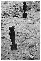 Grave markers, islamic cemetery, Phi-Phi island. Krabi Province, Thailand (black and white)