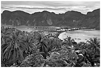 Panoramic view of isthmus and Tonsai village, Ko Phi-Phi island. Krabi Province, Thailand ( black and white)