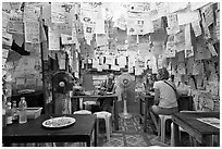 Pad Thai restaurant festoned with customer notes, Phi-Phi island. Krabi Province, Thailand ( black and white)