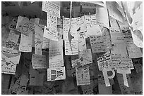 Notes left by customers from all around the world, Ko Phi-Phi island. Krabi Province, Thailand ( black and white)
