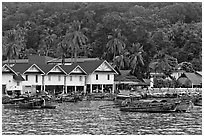 Houses and hillside, Ton Sai, Phi-Phi island. Krabi Province, Thailand ( black and white)