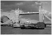 Barges and Tower Bridge. London, England, United Kingdom ( black and white)
