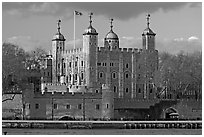 Tower of London, with a view of the water gate called Traitors Gate. London, England, United Kingdom ( black and white)