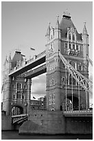 Close view of the two towers of the Tower Bridge. London, England, United Kingdom ( black and white)