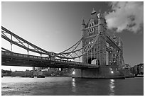 Wide view of Tower Bridge, a landmark 1876 bascule bridge. London, England, United Kingdom ( black and white)