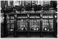 Pub The Shipwrights Arms at night. London, England, United Kingdom ( black and white)