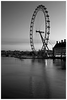 London Eye and Thames River at dawn. London, England, United Kingdom ( black and white)