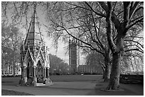 Buxton Memorial Fountain in the Victoria Tower Gardens. London, England, United Kingdom (black and white)