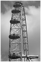 Capsules of the Millennium Wheel. London, England, United Kingdom ( black and white)