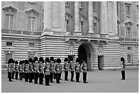Household division guards during the changing of the Guard ceremonial. London, England, United Kingdom ( black and white)
