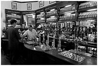 Counter of the pub Westmister Arms. London, England, United Kingdom ( black and white)