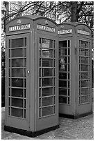 Two red phone boxes. London, England, United Kingdom (black and white)