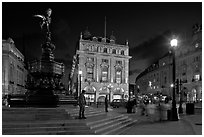Piccadilly Circus and Eros statue at night. London, England, United Kingdom ( black and white)