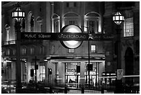 Subway entrance at night, Piccadilly Circus. London, England, United Kingdom (black and white)