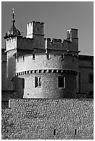 Turrets, outside wall, Tower of London. London, England, United Kingdom (black and white)