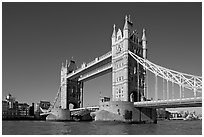 Tower Bridge at river level, morning. London, England, United Kingdom ( black and white)