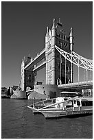 Catamaran below Tower Bridge. London, England, United Kingdom ( black and white)