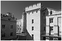 Salt Tower, central courtyard, and White Tower, the Tower of London. London, England, United Kingdom ( black and white)