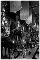 Armors and Models of royal horses,  the White House, Tower of London. London, England, United Kingdom ( black and white)