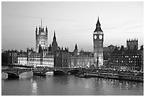 Westminster Palace at sunset. London, England, United Kingdom (black and white)