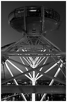 Millenium Wheel capsule at night. London, England, United Kingdom ( black and white)