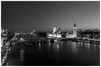River Thames and Westmister Palace at night. London, England, United Kingdom (black and white)