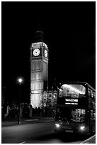 Double-decker bus and Big Ben at night. London, England, United Kingdom ( black and white)