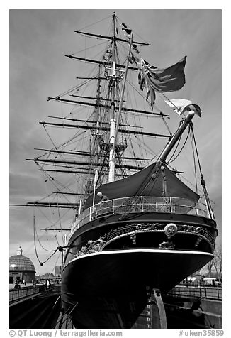 Stern of the Cutty Sark clipper. Greenwich, London, England, United Kingdom (black and white)