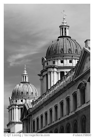 Twin domes of the Greenwich Hospital (formerly the Royal Naval College). Greenwich, London, England, United Kingdom (black and white)