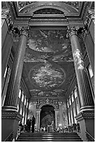 Painted Hall of Greenwich Hospital, decorated by Sir James Thornhill in 19 years. Greenwich, London, England, United Kingdom (black and white)