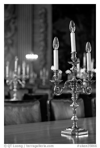 Chandeliers in the Painted Hall of Old Royal Naval College. Greenwich, London, England, United Kingdom (black and white)