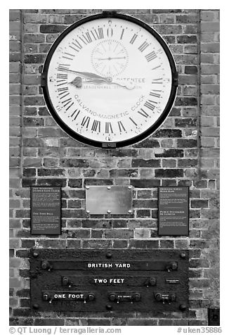 Shepherd 24-hour gate clock, and public standard of length, Royal Observatory. Greenwich, London, England, United Kingdom