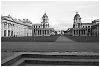 Grand Square, Old Royal Naval College, sunset. Greenwich, London, England, United Kingdom (black and white)