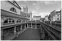 Pool of the Roman Bath, colored by green algae because of the loss of original roof. Bath, Somerset, England, United Kingdom ( black and white)