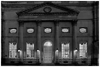 Pump Room at dusk. Bath, Somerset, England, United Kingdom ( black and white)