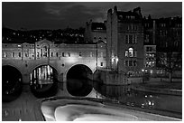 Pulteney Bridge and weir at night. Bath, Somerset, England, United Kingdom ( black and white)